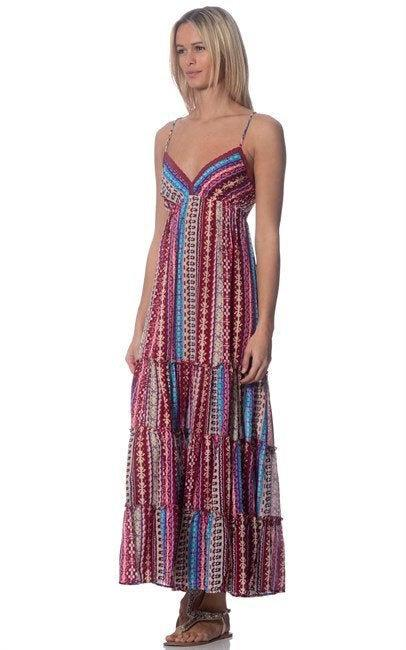 resort wear cruise wear boho ruffled maxi dress