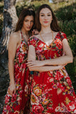 Red Boho Cotton Floral Long Maxi Summer Dress, CAPRI DRESS