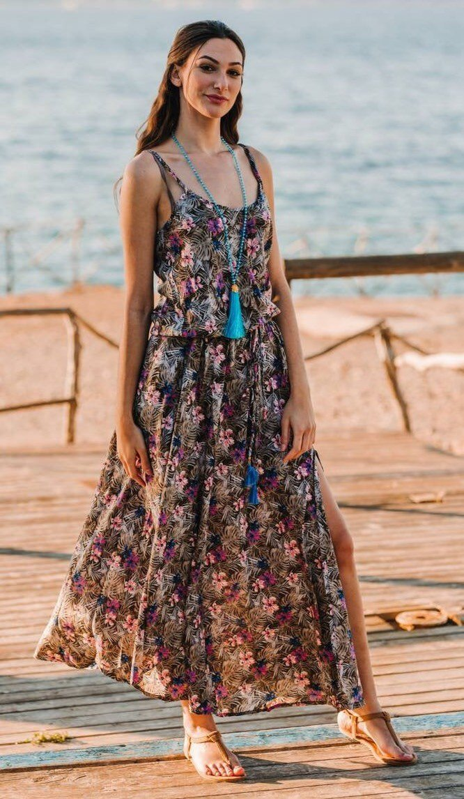tropical floral boho maxi cruies wear resort wear beach wear