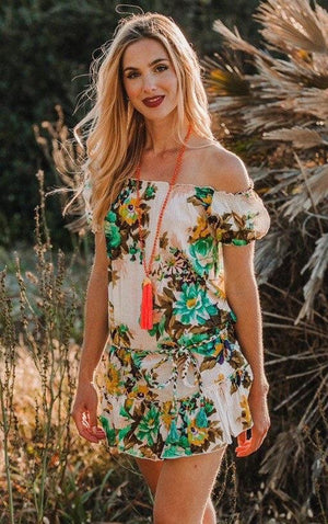 boho floral mini dress cruise dress resort wear beachwear