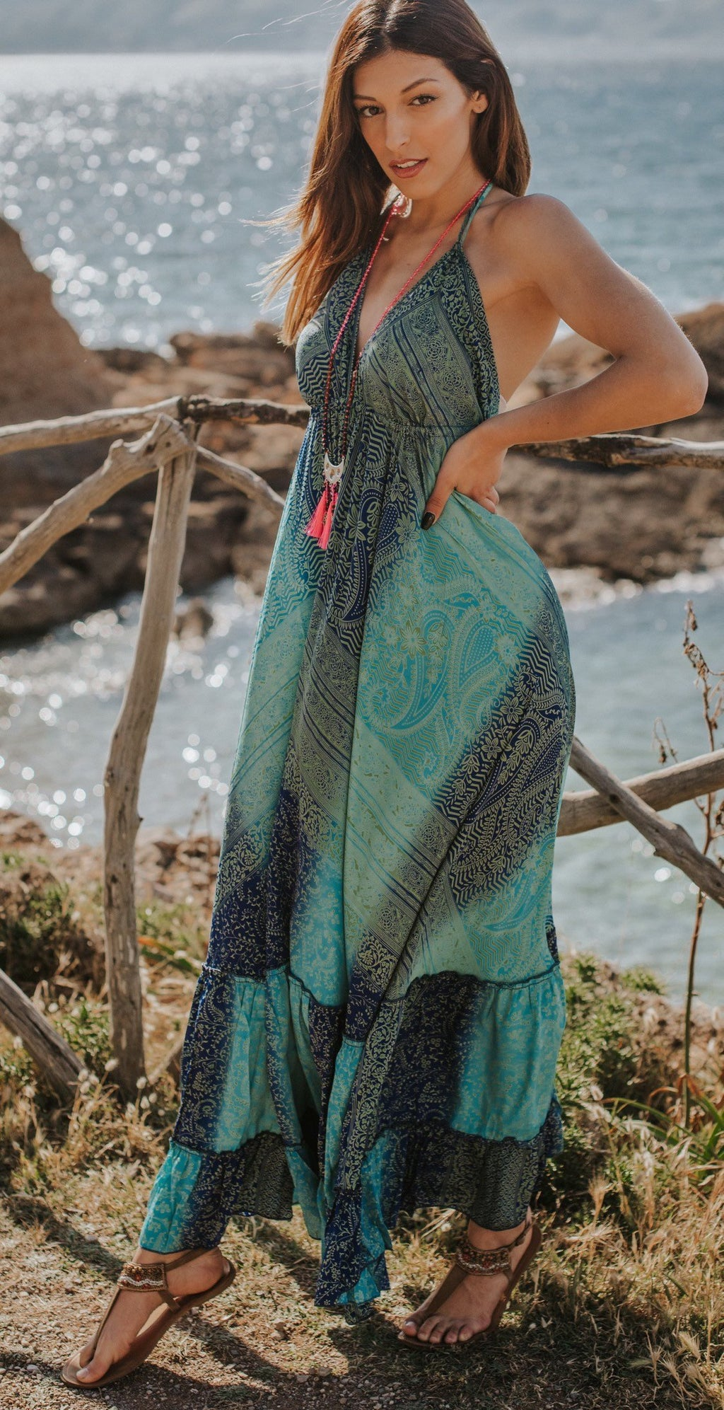 paisley boho maxi resort dress