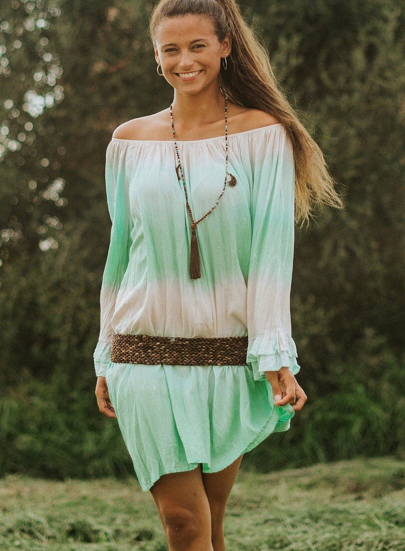 tie dye resort wear tie dye beach wear long sleeve tie dye dress