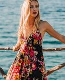 Black Floral Boho Cotton Maxi Summer Dress, IBIZA DRESS