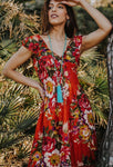Orange Boho Cotton Floral Long Maxi Summer Dress, CAPRI DRESS