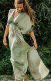 Boho Silk Green Summer Dress Kaftan, CANNES DRESS
