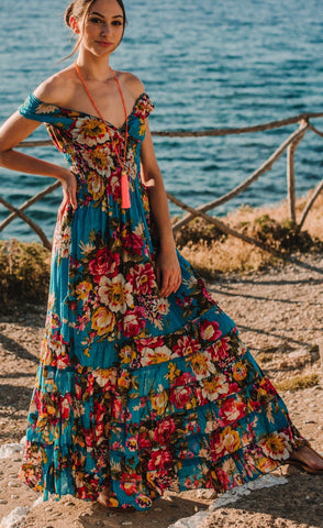 Blue Boho Cotton Floral Long Maxi Summer Dress, CAPRI DRESS