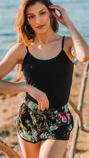floral bohemian shorts resort wear beachwear
