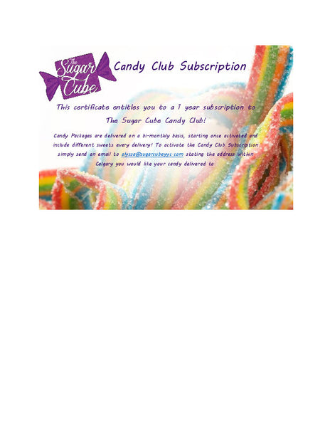 The Candy Club Subscription 1 Year Gift Certificate