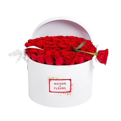 Red Roses in White Limited-Edition Signature Round Box