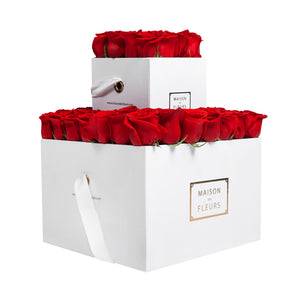 Roses in Double MDF Signature Square Boxes