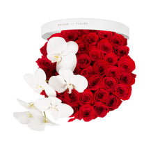 Load image into Gallery viewer, Red Roses With White Orchid Stem in MDF Round Box