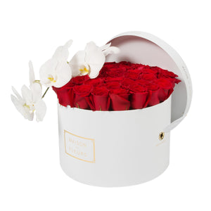 Red Roses With White Orchid Stem in MDF Round Box