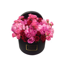 Load image into Gallery viewer, Red and Pink Roses in MDF Black Round Box