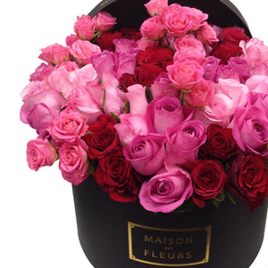 Red and Pink Roses in MDF Black Round Box