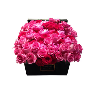 Mixed Pink and Fuchsia Rose Hedge in MDF Black Square Box