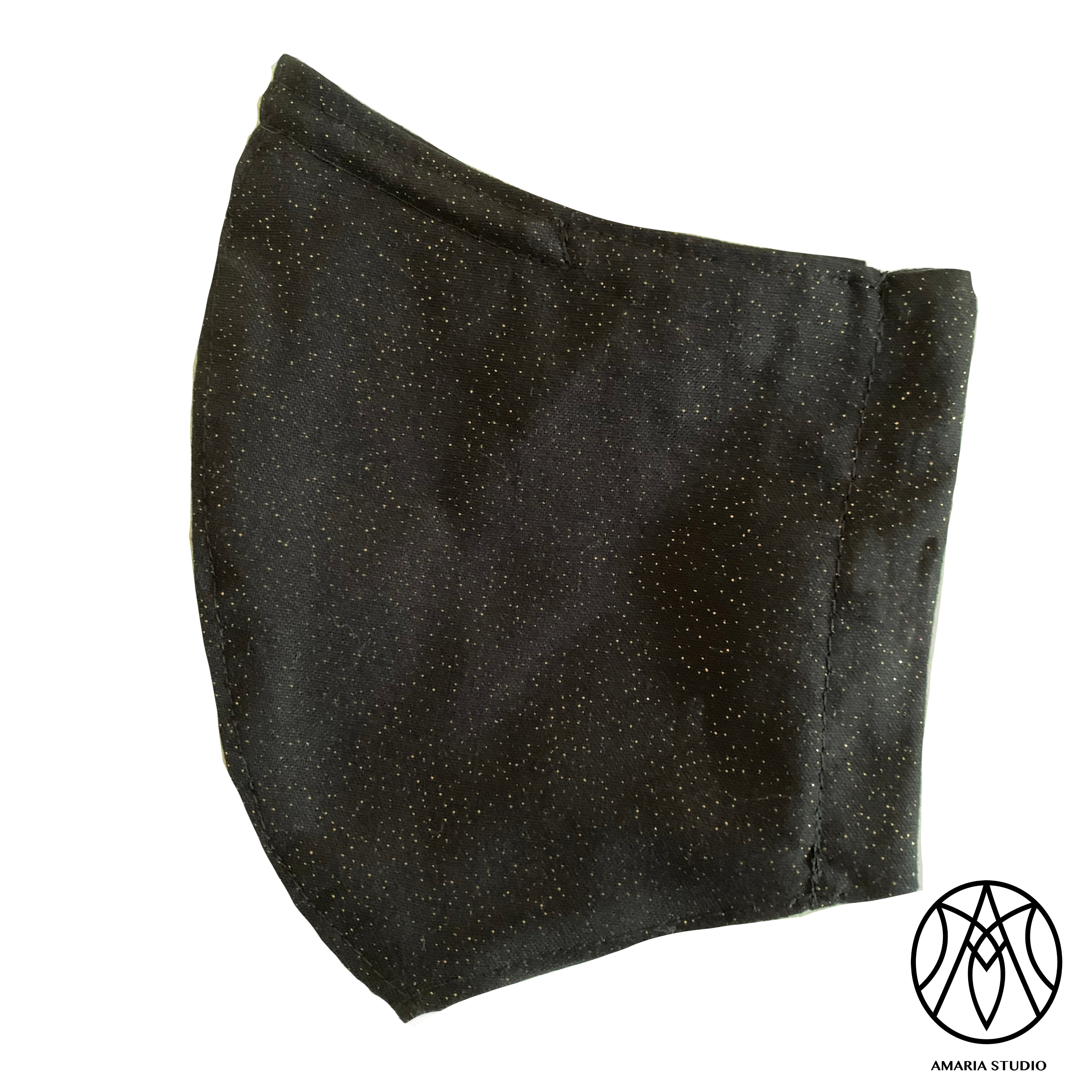 Black with gold glitter face mask - Amaria Studio