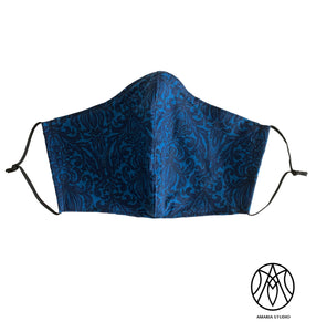 Blue damask cotton face mask - Amaria Studio