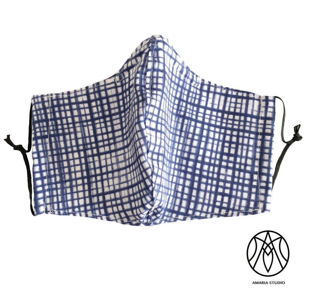 Blue plaid cotton mask - Amaria Studio