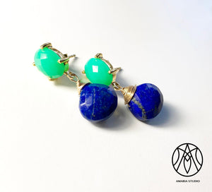 Chrysoprase and lapis lazuli earrings - Amaria Studio