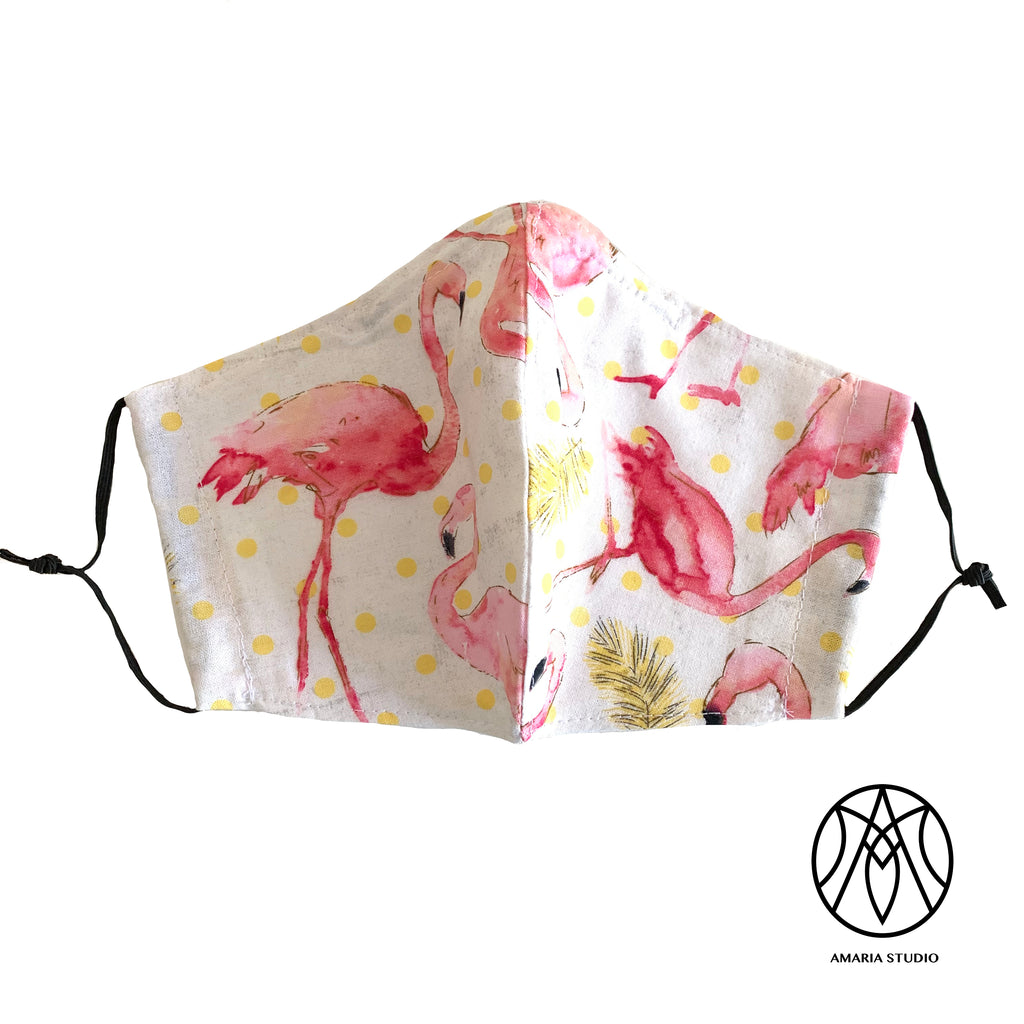 Flamingo feather face cotton mask - Amaria Studio