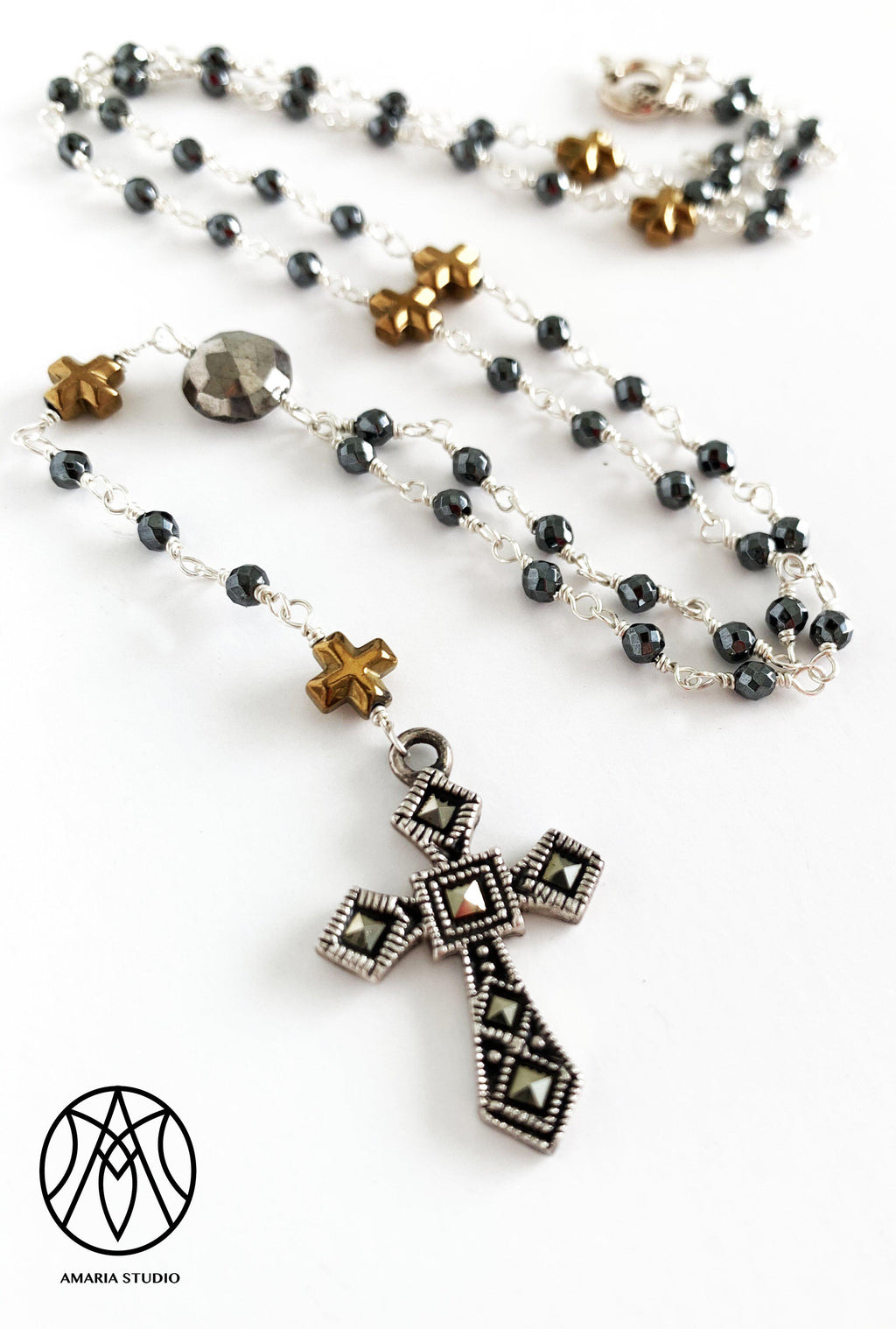 Hematite Rosary Necklace - Amaria Studio