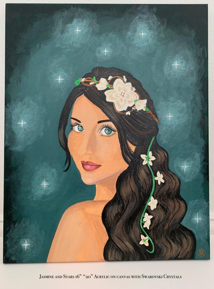 Jasmine and Stars Painting - Amaria Studio