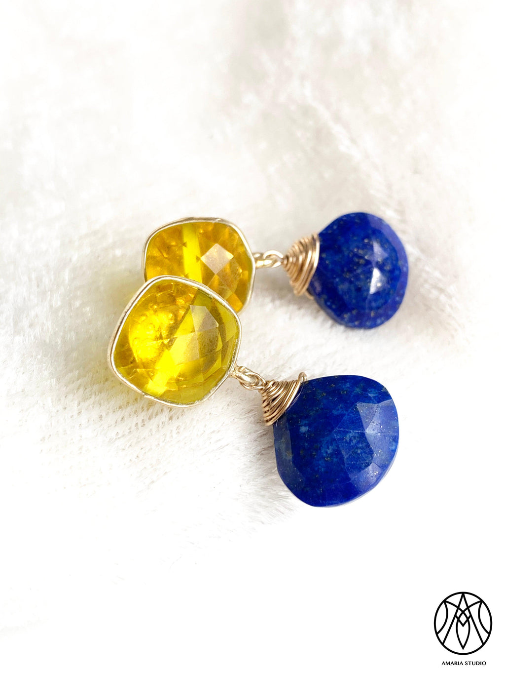 Lemon quartz and lapiz lazuli earrings - Amaria Studio