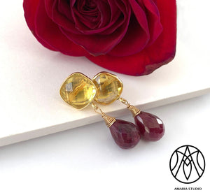 Lemon quartz and ruby earrings