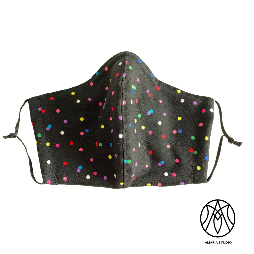 Multicolored dots cotton face mask - Amaria Studio