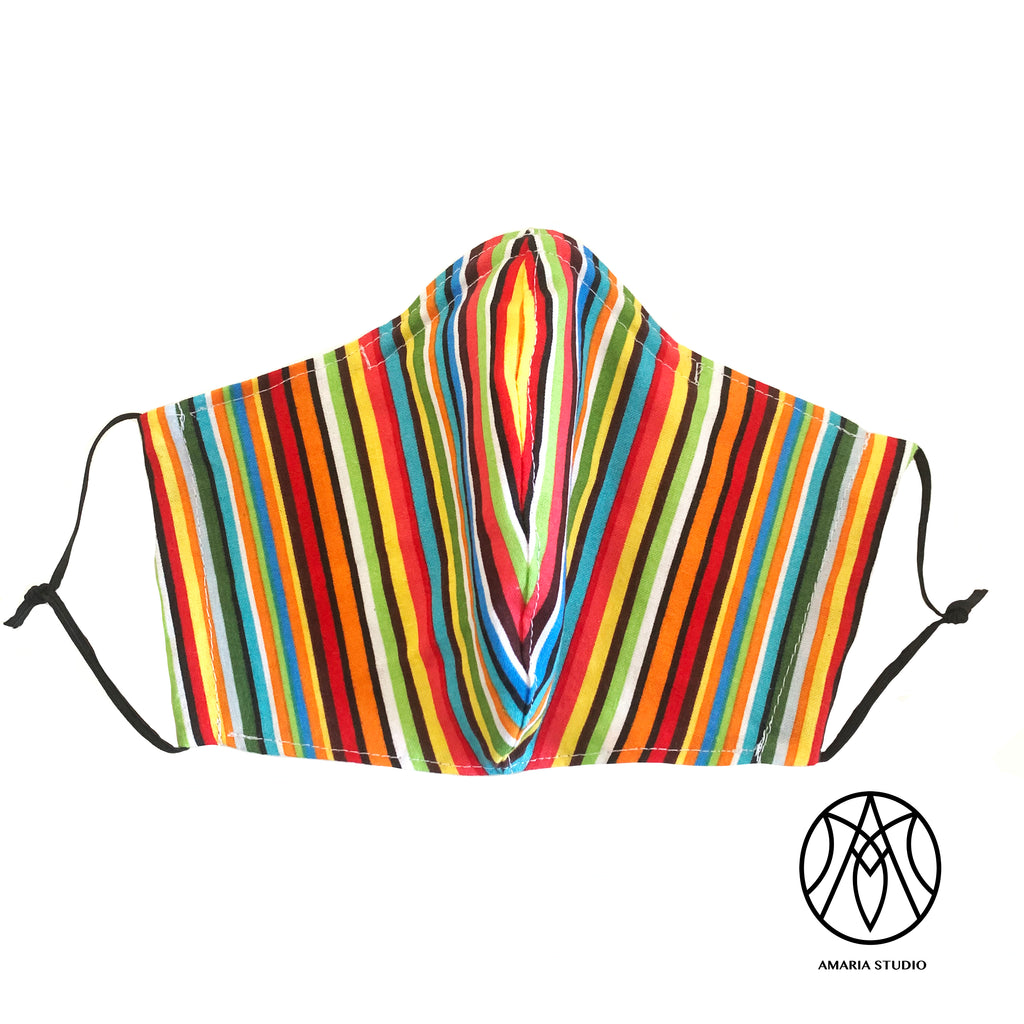 Multi color stripes face mask - Amaria Studio
