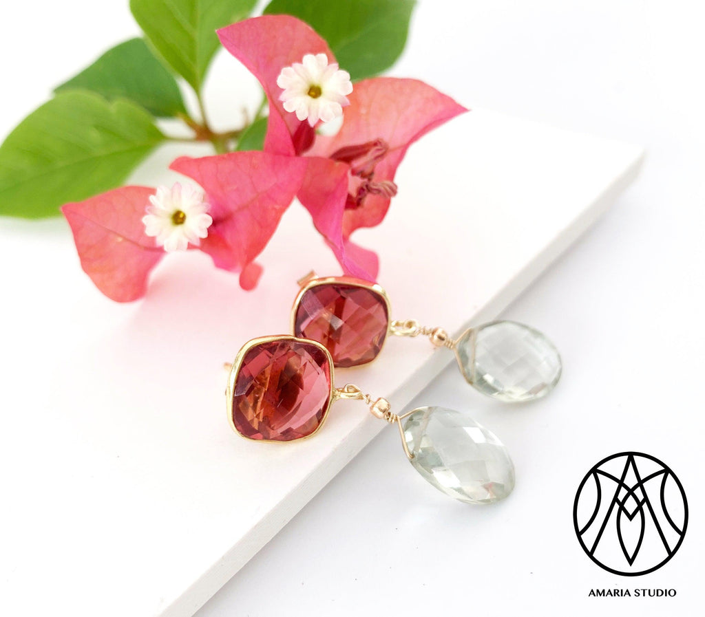 Pink tourmaline and green topaz earrings