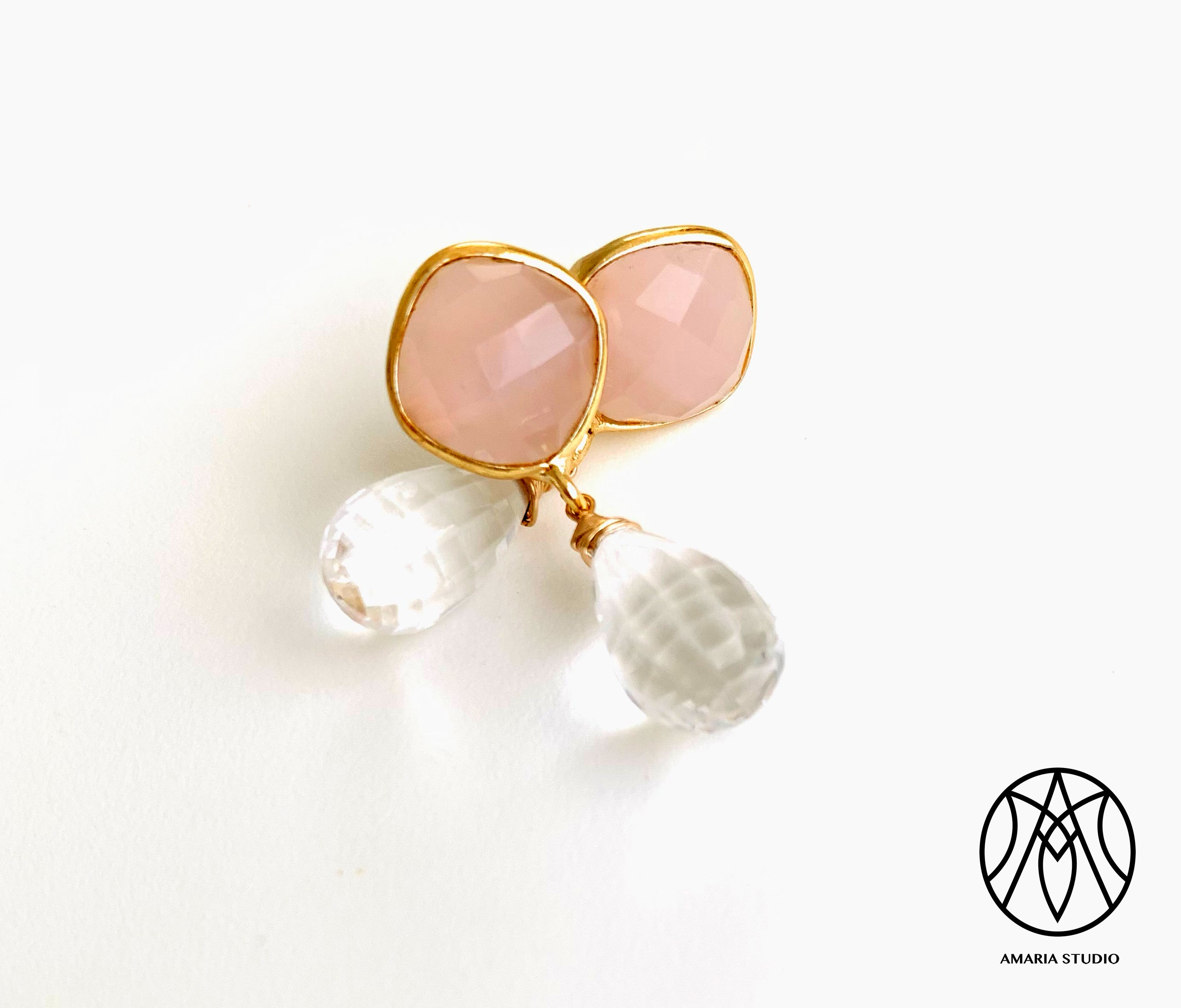 Rose and crystal quartz earrings - Amaria Studio
