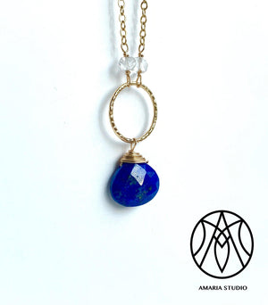 Lapis Lazuli and white topaz necklace - Amaria Studio