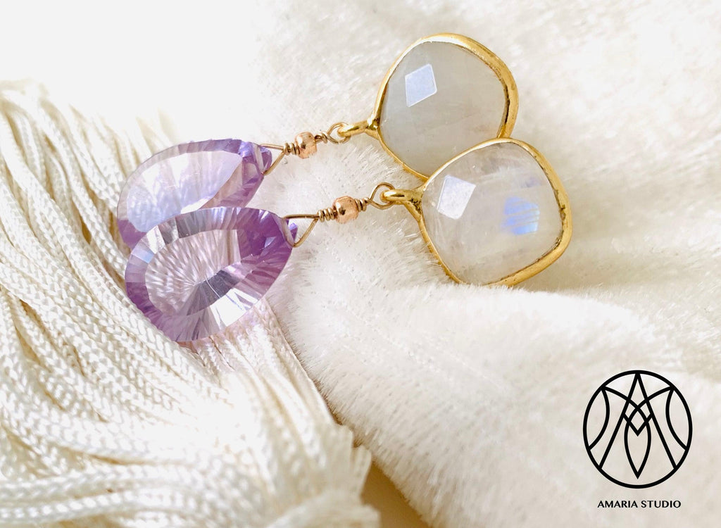 Moonstone amethyst earrings - Amaria Studio