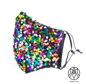 Multicolored sequins face mask - Amaria Studio