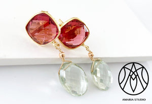 Pink tourmaline and green amethyst earrings - Amaria Studio