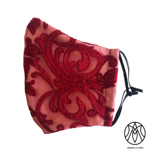 Red Embroidered face mask - Amaria Studio