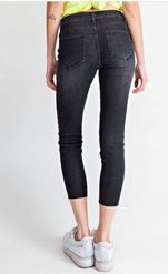 Washed Black Denim Pants With Pearls
