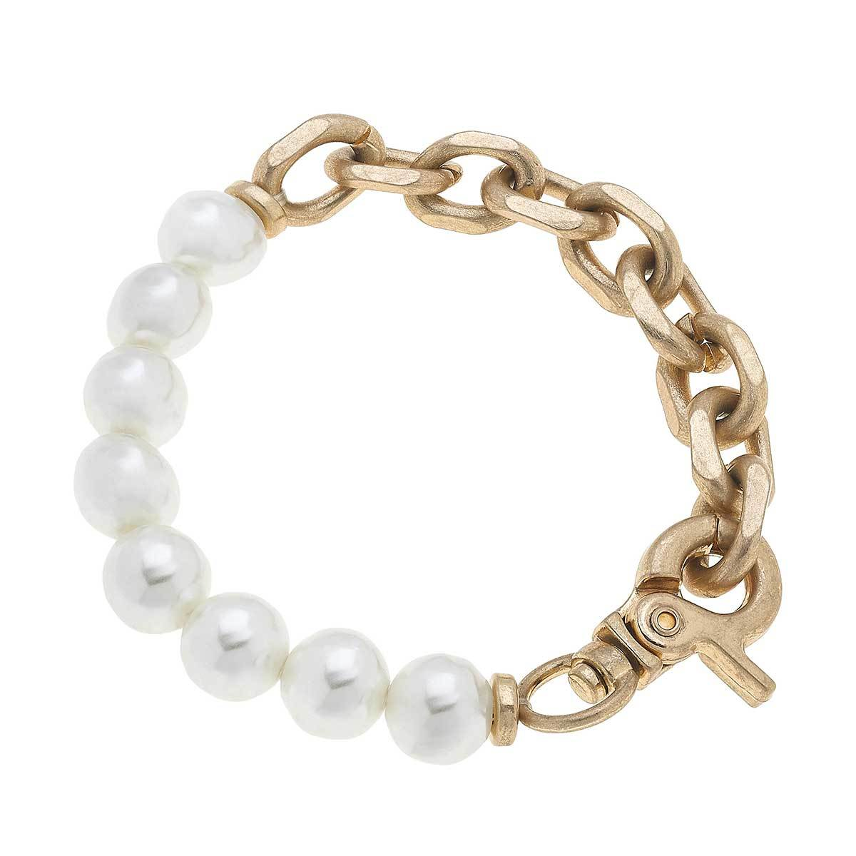 Suri Freshwater Pearl & Chunky Chain Link Bracelet Worn Gold 7.5""