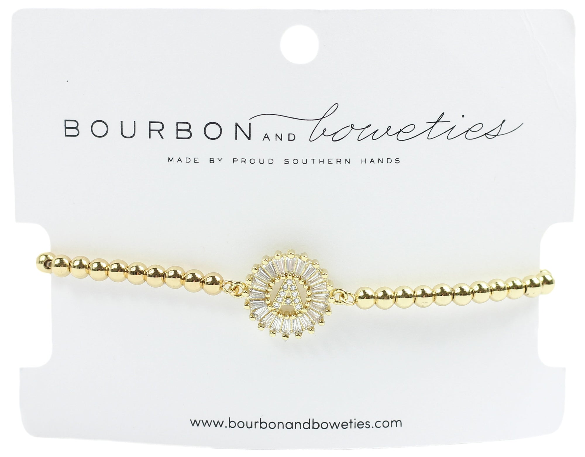 Bourbon & Boweties Initial Adjustable Bracelet Gold