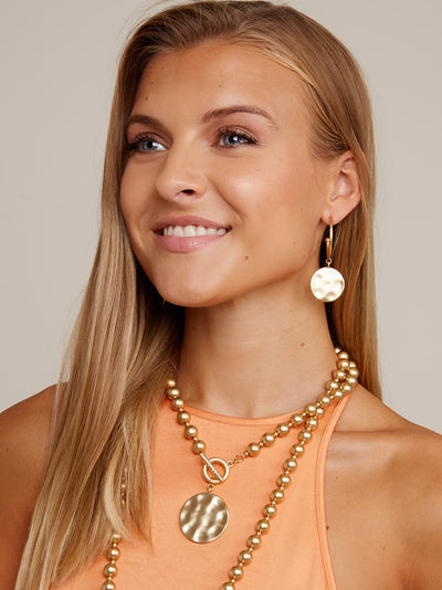 Bee Collar Bead Necklace w/ Hammered Medallion Coin
