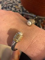Gold/Silver Cuff With Pearl