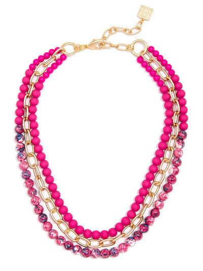 Layered Matte and Marbled Porcelian Beads Hot PInk