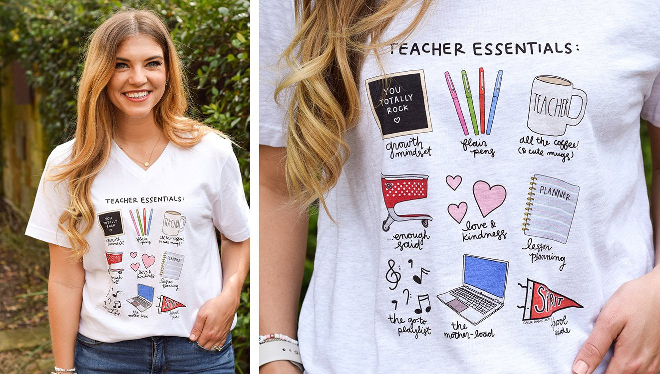 Teacher Essentials V-Neck White T-shirt