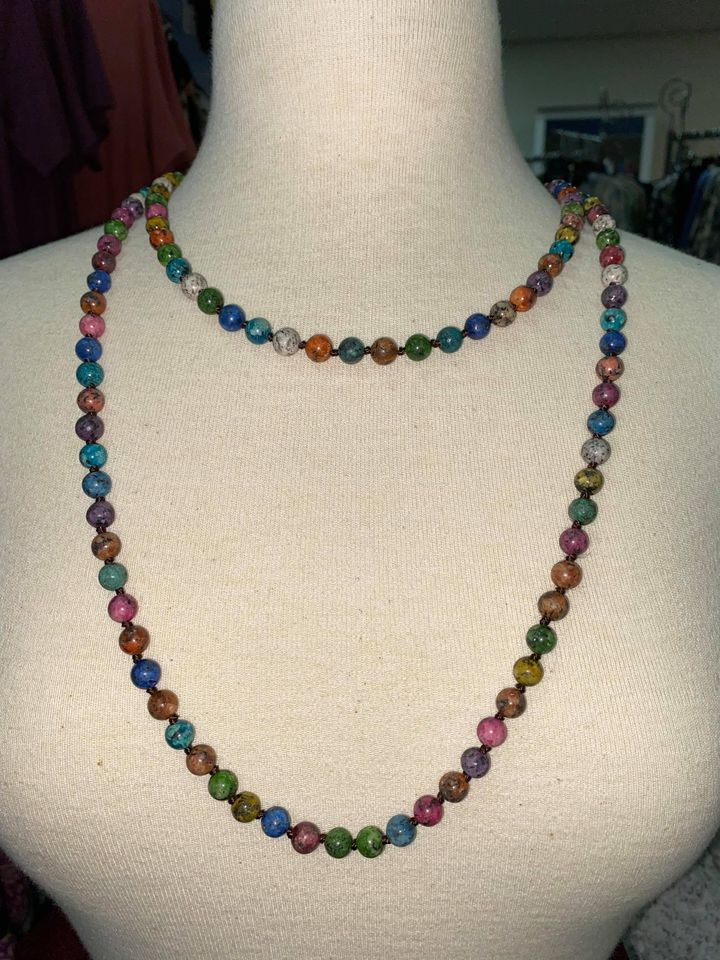 All Beaded Multi Stone Long Necklace