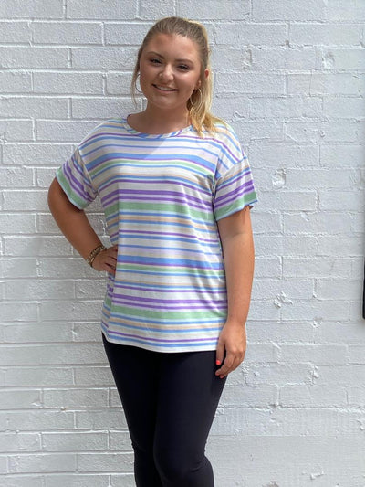Honeyme Lavender/Lime Stripe Top