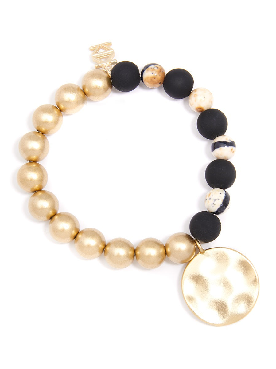 Betty Marbled Porcelian Bead Stretch Bracelet