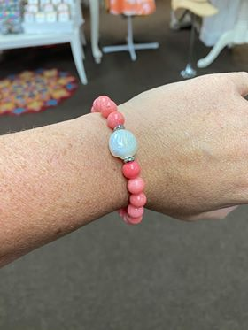 T.Jazelle Pink Coral White Pearl Coin