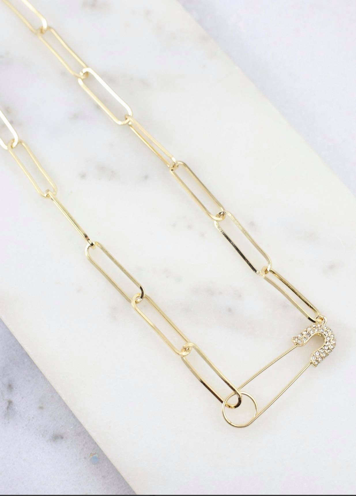 Letts CZ Safety Pin Link Necklace