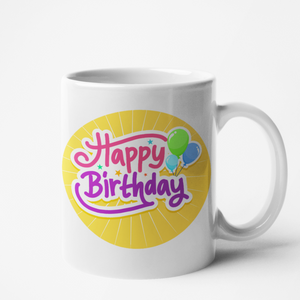 Mug blanc personnalisé Happy birthday
